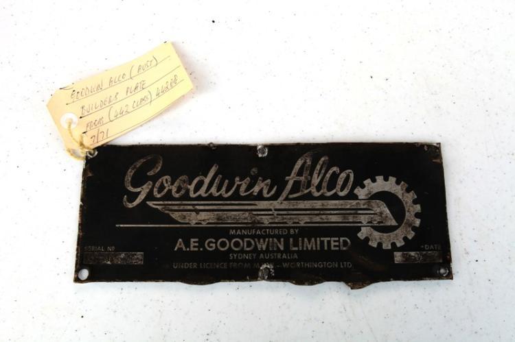 NSWGR aluminium Builders plate Goodwin Alco #44208