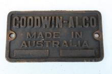 Brass Goodwin Alco builders plate