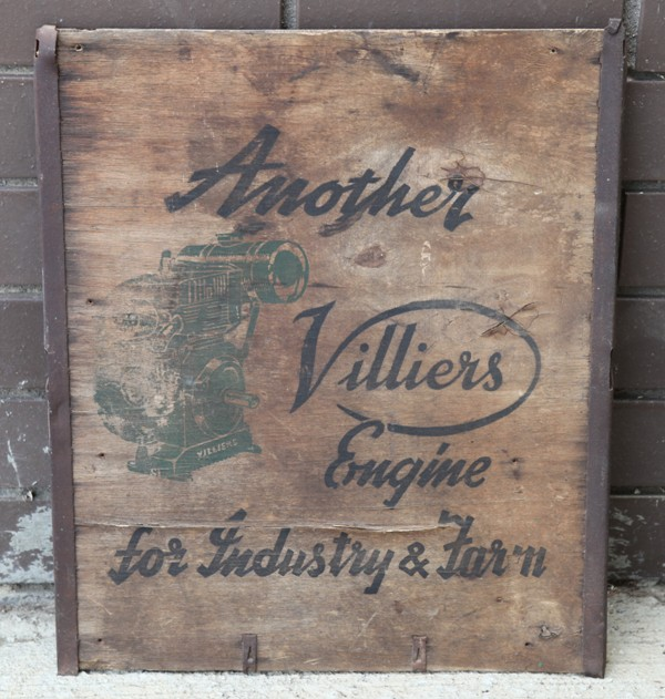 Villiers engine box end advertising