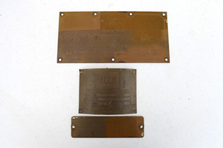 3x Alco engine builders compliance plates from the engine of 4845