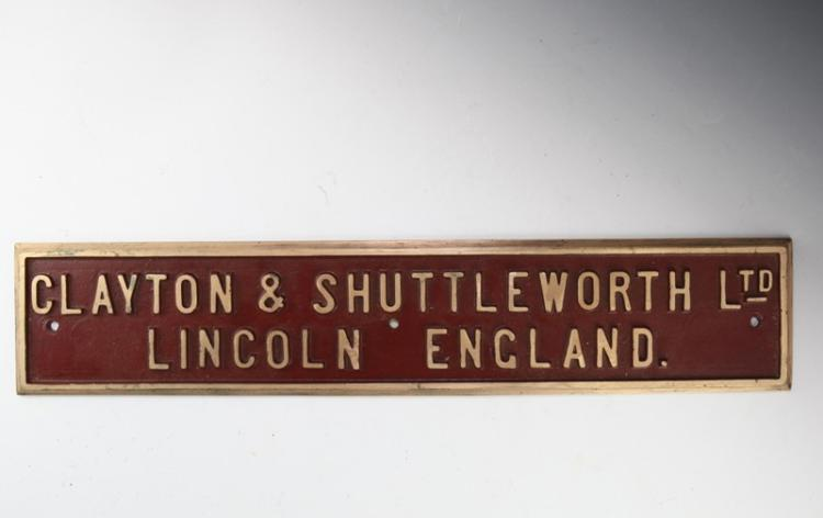 Clayton & Shuttleworth Builders Plate - NSW Govt Tramways Steam Road Roller #5