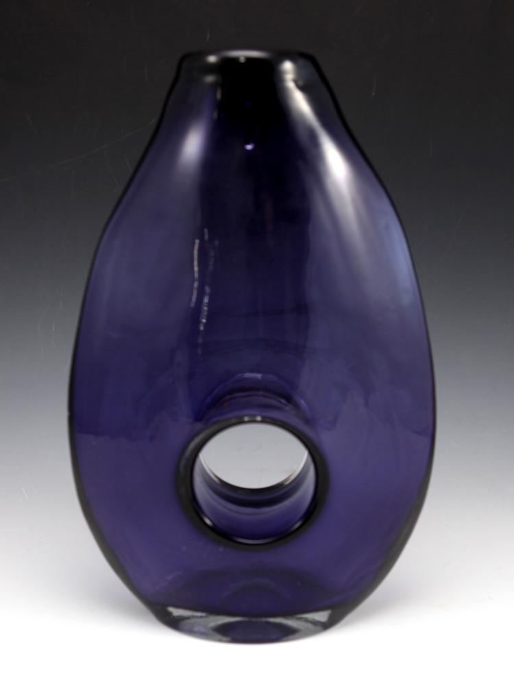 Violet art glass vase 28cm tall for Pfannendeckel glas 28cm