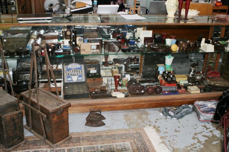 Long Antique Shop Display Cabinet