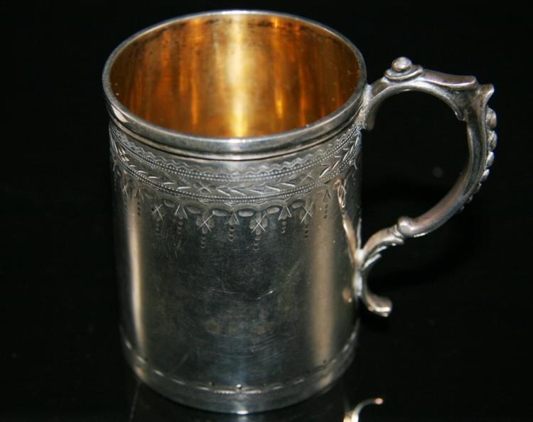 small silver christening mug william evans london 1876. Black Bedroom Furniture Sets. Home Design Ideas