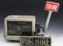 Vintage taxi meter and light