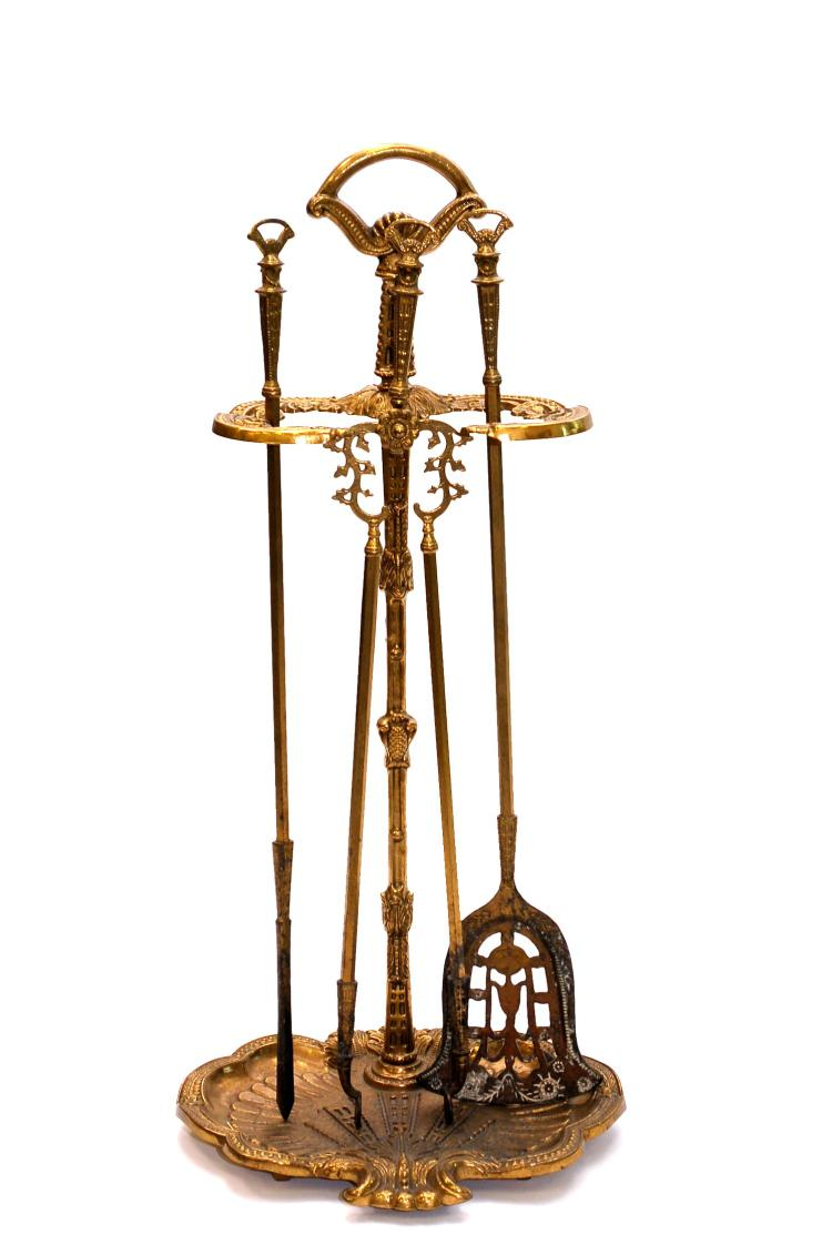 Vintage Brass Fireplace Tools & Stand