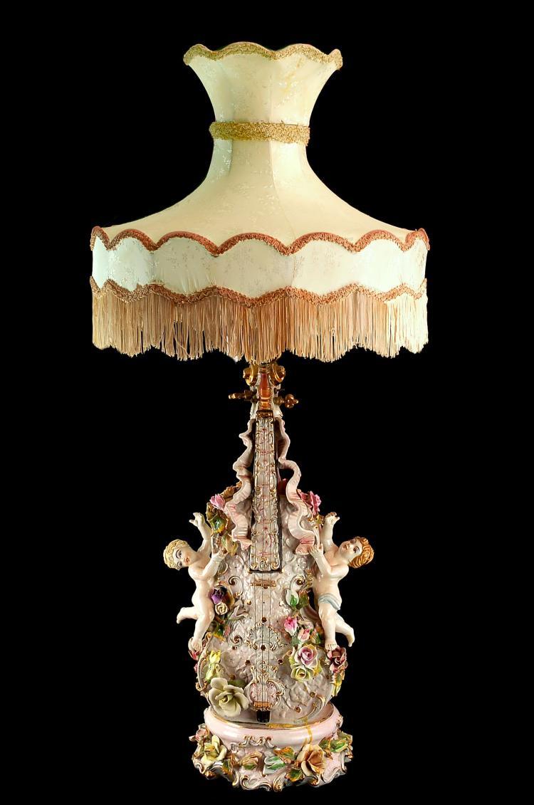 Antique Victorian Cherub Porcelain Lamp Capodimonte Style