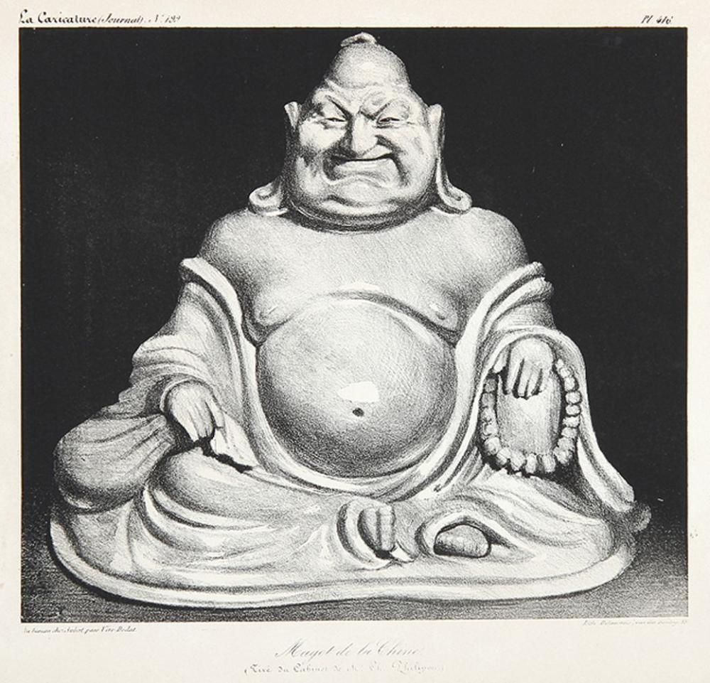 """HONORE DAUMIER Marseille 1810 - 1879 Valmondois: Magot de la Chine. Lachender Buddha. Pl. 416 aus """"La Caricature"""" No. 199."""
