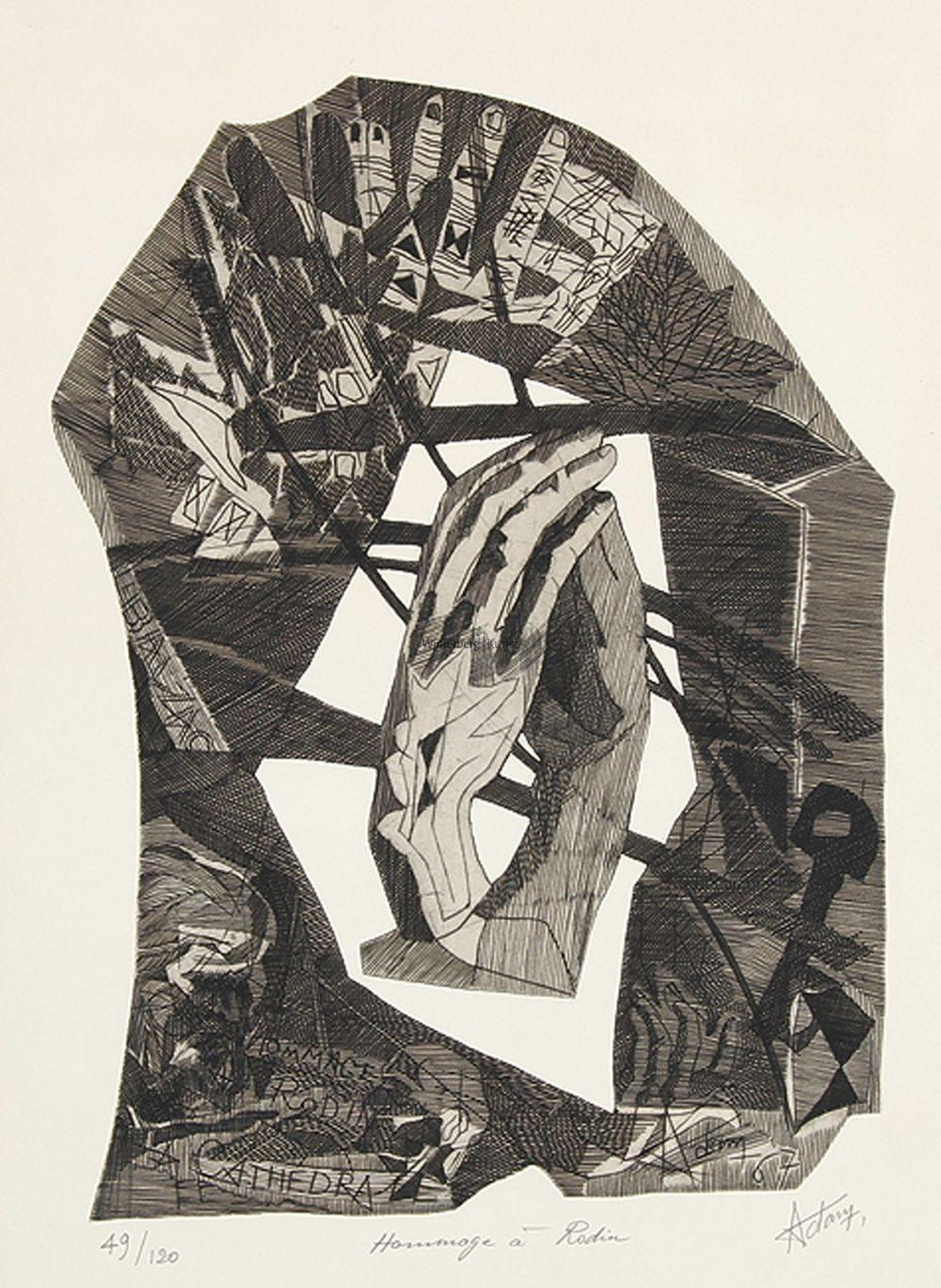 """VALERIO ADAMI Bologna 1935 - tätig in Mailand und Paris: """"Hommage à Rodin""""."""