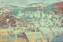 DIETER ROTH Hannover 1930 - 1998 Basel: Heidelberg. Blick über die Dächer der Altstadt auf das Schloß.