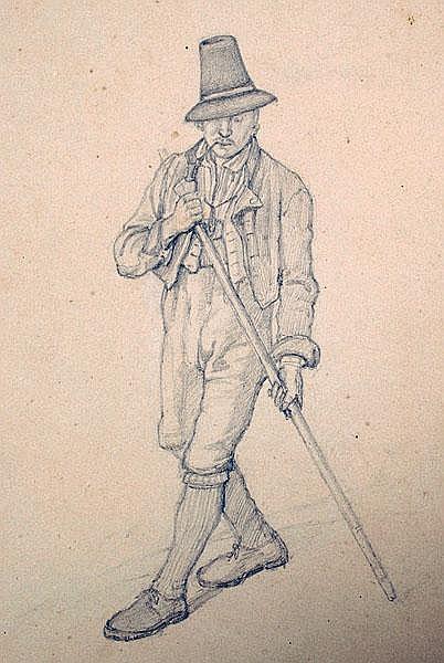 EDUARD MERK 1816 - München - 1888 Bergbauer mit
