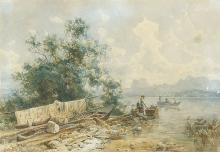 HEINRICH HÖFER Eisfeld 1825 - 1878 München: Kahn am Ufer einer bayerischen Sees.