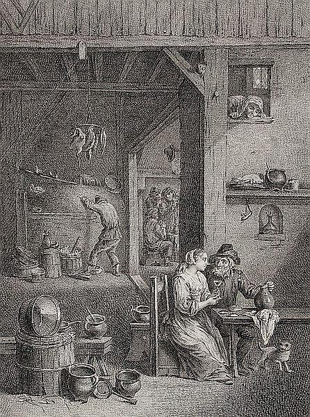 PIERRE-FRANCOIS BASAN 1723 - Paris - 1797 Le Lever