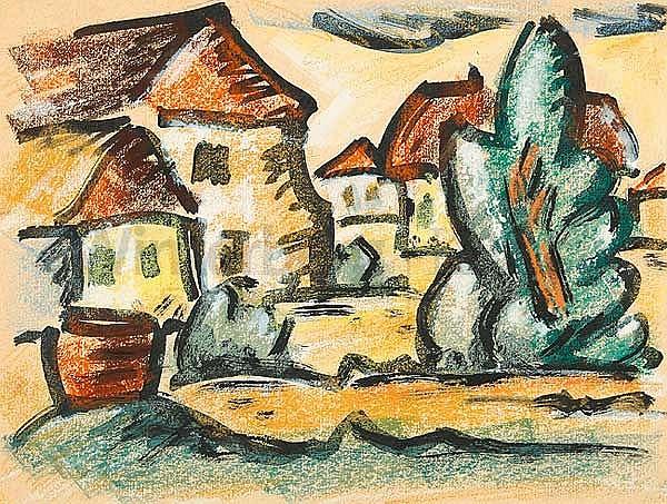 PAUL KÜHN, Erfurt 1885 - 1981 Wuppertal-Elberfeld :   Häuser am Abend (I).