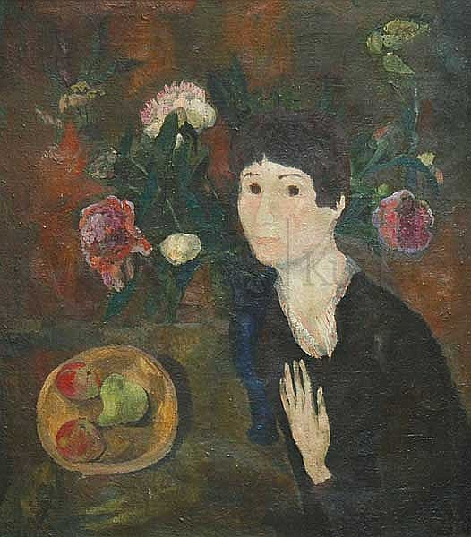 "KLAUS ARNOLD, Heidelberg 1928 - 2009 Karlsruhe:   ""Bildnis 'Ray'"". Frau mit Pfingstrosen."
