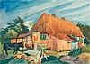 ERIC JOHANSSON, Dresden 1896 - 1979 Täby/Stockholm:   Bauernhaus mit Kuh., Eric Johansson, Click for value
