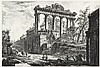 GIOVANNI BATTISTA PIRANESI, Mogliano 1720 - 1778 Rom:   Veduta del Tempio detto della Concordia. Der Saturntempel, rechts im Vordergrund ein Teil des Septimus-Severus-Bogens., Giovanni Battista Piranesi, €3,500