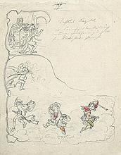 Kobold entfesselt im Auftrag der Fee Stürme. Illustrationsentwurf, vermutlich zu einem Kinderbuch.