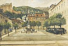 Der Kornmarkt in Heidelberg. Blick auf die Mariensäule mit der Kornmarktmadonna, im Hintergrund das Schloss.