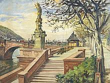 Alte Brücke in Heidelberg. Blick auf die Neuenheimer Seite mit der Nepomukstatue und Teilen des Brückenbogens.