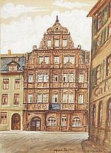 Blick auf die Fassade des Hotels zum Ritter St. Georg in Heidelberg.