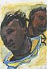 Kolumbus und Don Quichote in einem Boot. Zwei dunkelhäutige Männerköpfe mit einem Boot um den Hals., Martin Praska, Click for value