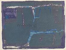 Komposition mit Blautönen und Lila.