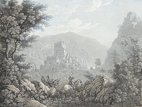 CAROLINE LOSE, geb. VON SCHLIEBEN, 1784 - Dresden - 1837: Schloss Eltz. Blick auf die Burg, im Vordergrund Ritterzug.
