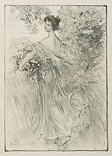 """MAURICE ELIOT: """"Printemps"""". Schreitende junge Frau, einen Blumenkorb tragend."""