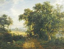CARL LUDWIG FAHRBACH, Heidelberg 1835 - 1902 Düsseldorf: Waldlandschaft mit Blick auf Gernsbach, im Vordergrund Bauer auf einem Pferdewagen.