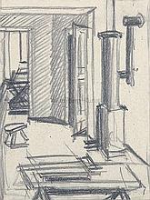 """GOTTFRIED BROCKMANN, Köln-Lindenthal 1903 - 1983 Kiel: """"Hungerturm-Interieur"""". Innenraum des zur Kunstakademie gehörigen Eiskellerberg-Gebäudes in Düsseldorf."""