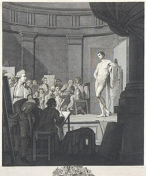 SIMON-FRANCOIS RAVENET DER ÄLTERE, Paris 1706 - 1774 London: An Academy. Zeichner und Maler mit männlichem Aktmodell.