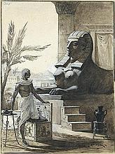 """OTTO GERLACH, Leipzig 1862 - 1908 Teheran: Pharao vor der Sphinx. Illustrationsvorlage für """"Wie die Sphinx entstand""""."""