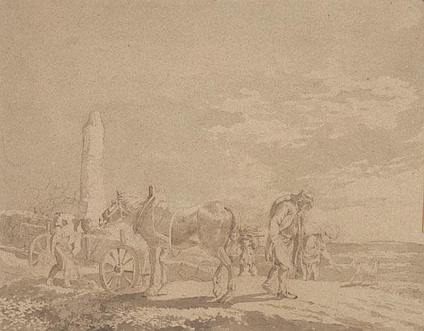 JOHANN CHRISTIAN KLENGEL Heuernte. Links ein Pferd mit Fuhrwerk bei einem Bauern, rechts Landleute mit einem Hund.