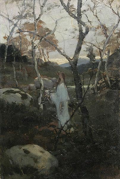 NUMA GILLET Allegorie der Flora. Weibliche Gestalt zwischen fast kahlen Bäumen und Felsen.