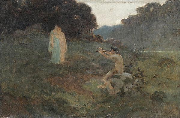 NUMA GILLET Waldwiese mit Doppel-Flöte spielendem Pan und zwei stehenden weiblichen Gestalten.