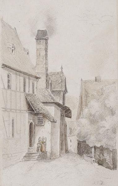 JAKOB FÜRCHTEGOTT DIELMANN Blick in eine Dorfgasse in Kronberg. Drei Kinder auf dem überdachten Treppenabsatz eines Fachwerkhauses am Eingang zur Gasse.
