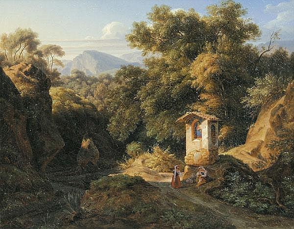 ERNST FRIES Bildstock bei Subiaco. Landschaft im Sabinergebirge südöstlich von Rom, im Vordergrund zwei Bäuerinnen beim Gebet.