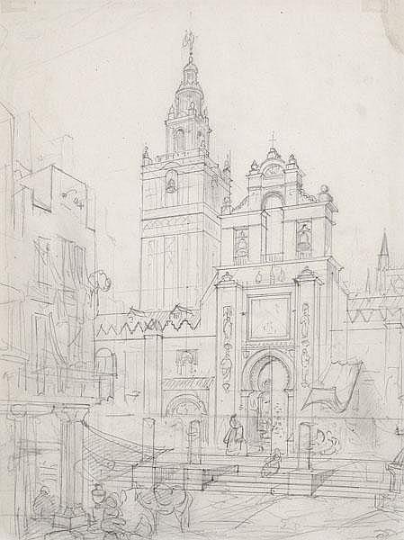 FRIEDRICH EIBNER Blick auf das Eingangstor und den Giralda-Turm der Kathedrale von Sevilla.