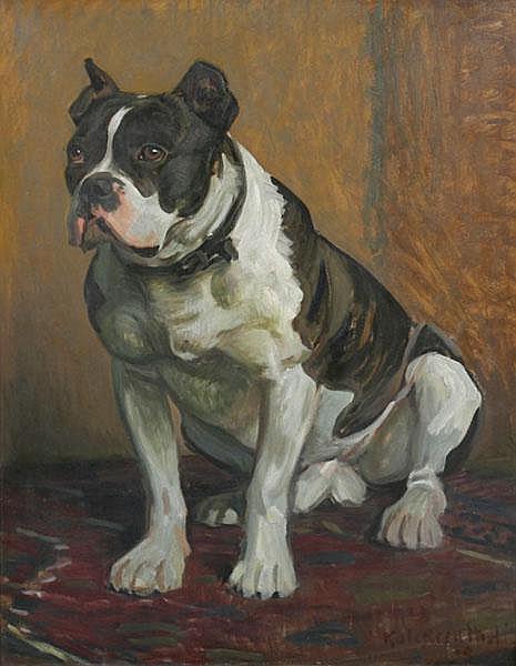 LEOPOLD GRAF VON KALCKREUTH Taps. Die sitzende Bulldogge des Künstlers.