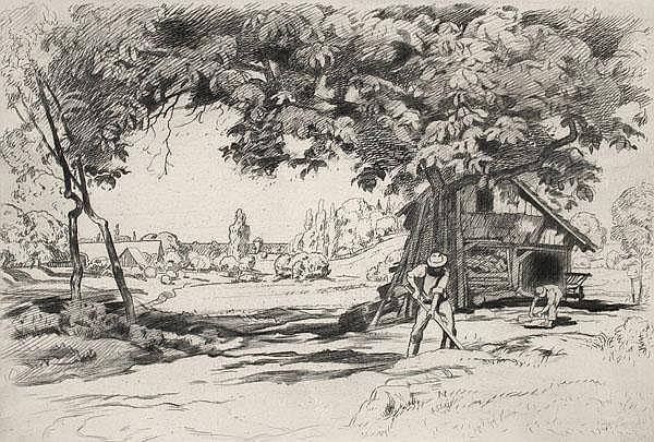 WALTER CONZ Holzhütte mit Arbeiterin bei einem Dorf.