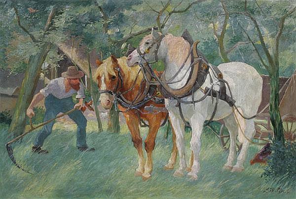 LUDWIG WILHELM PLOCK Sensender Bauer mit einem Pferdegespann unter Bäumen.