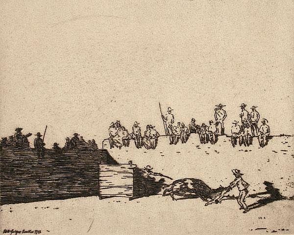 WILLI GEIGER Picador und Stier - Stierkampfszene mit auf der Mauer sitzenden Zuschauern.