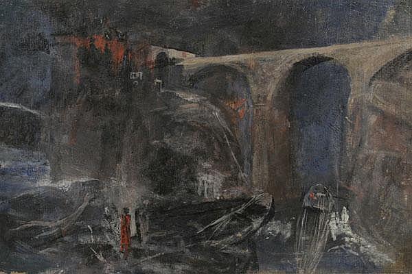RUDOLF SCHICK Burg am Meer mit großer Bogenbrücke, im Vordergrund Boote.