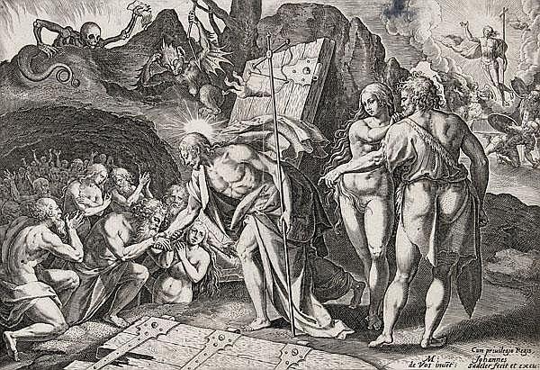 JOHANNES SADELER DER ÄLTERE Die Kreuzabnahme - Der Abstieg Christi in die Vorhölle. Blatt 4 und 5 der Folge