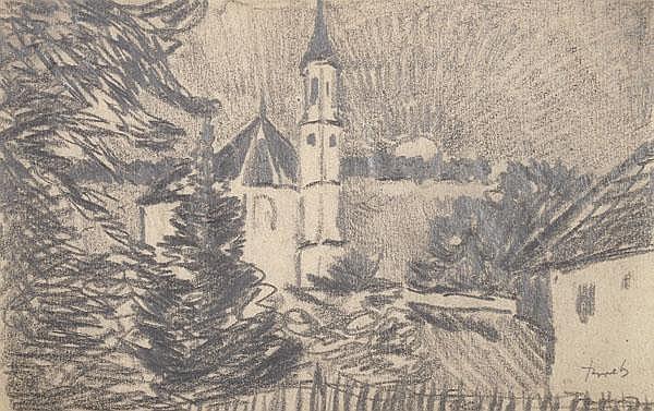 JULIUS BRETZ Kirchen (3); Eiche und Bauerngehöft.