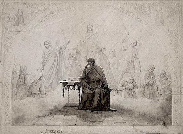 LUDWIG SIGISMUND RUHL Dante denkt über die Göttliche Komödie nach. Der Dichter an einem Tisch sitzend, im Hintergrund vergebende und strafende Engel.