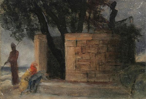 RUDOLF SCHICK Das Heiligtum des Herakles. Baumgruppe mit Statue von einer antiken Rundmauer eingefasst, davor ein Wächter und zwei Kniende.