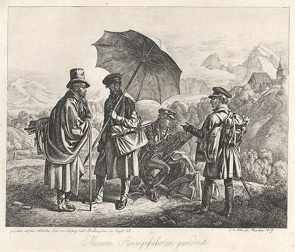 JOHANN ADAM KLEIN Die Maler auf der Reise. Die Gebrüder Reinhold, Chr. Erhard und F. Welker in Gebirgslandschaft mit Salzburg und dem Watzmann im Hintergrund.