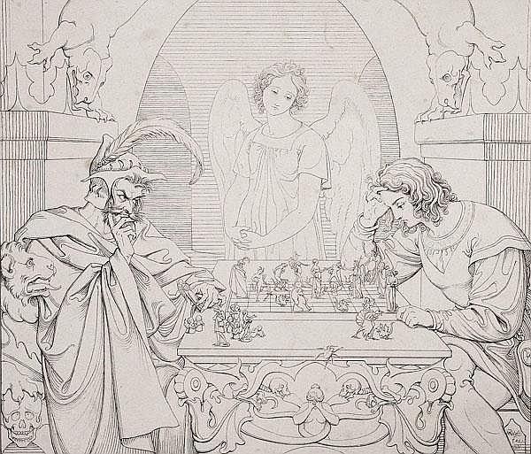 MORITZ RETZSCH Die Schachspieler. Satan spielt mit einem jungen Mann um dessen Seele, während ein Engel zusieht.